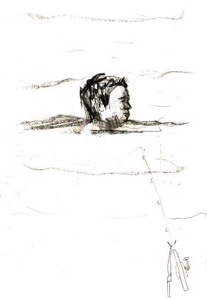 schwimmender Angler